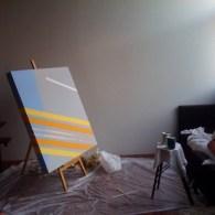 Conceptuele schilderkunst dus, Megan Scheminske schildert minimalistische patronen afkomstig uit Google maps.