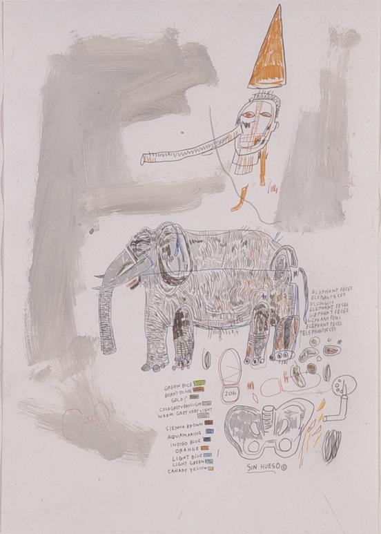 Elephant Faces - 70x50cm Mixed media op papier