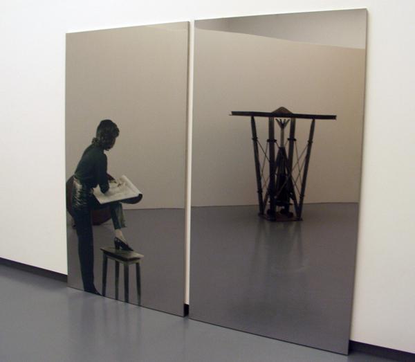Michelangelo Pistoletto - Donna che Disenge (vrouw die tekend) - Zeefdruk op gepolijst metaal