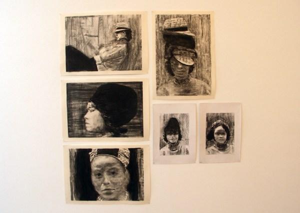 Felix Gmelin - Diverse houtskoolschetsen op papier