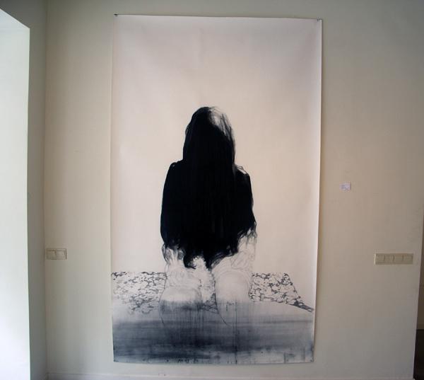 Anouk Griffioen - Zonder Titel - 205x80cm Houtskool krijt en grafiet op papier