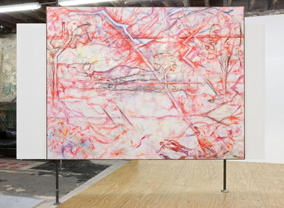 Jutta Koether - Hot Rod (After Poussin) - 80x104inch Acrylverf, pastel en mixed media op canvas