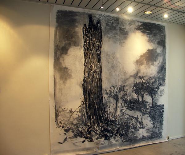 Sven Verheaghe - Breadsun - 300x400cm Houtskool en gouache op papier