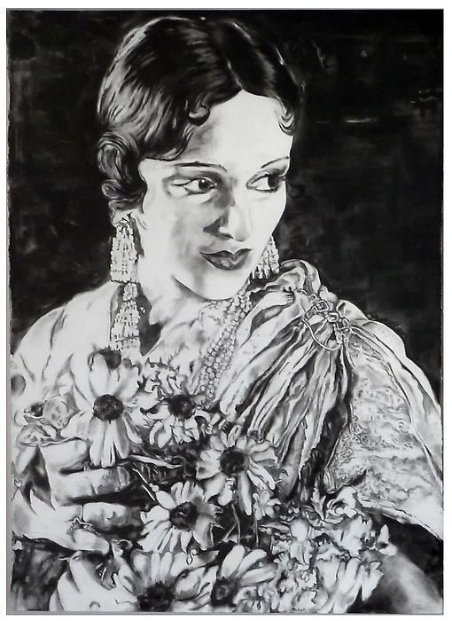 Devika Rani - 159x112cm Houtskool op papier