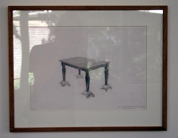 Ruben Bellinkx - Tafel gefragen door schildpadden - Potlood, inkt en waterverf op papier