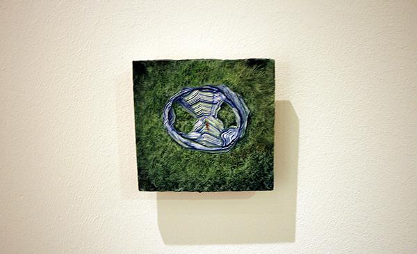 Thijs Janssen - Compositie met bruin accent - 15.5x15cm Olieverf op paneel