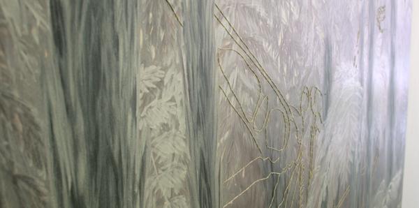 Jocye van Dongen - Zonder Titel - 140x200cm Olieverf en borduursel op canvas (detail)