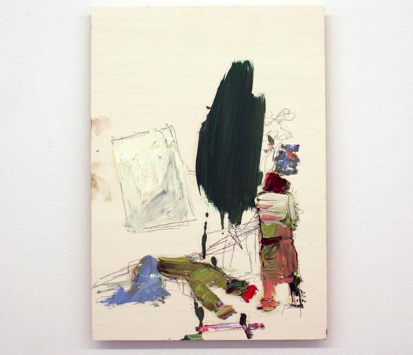 Norbert Prangenberg - Ritter und eind Abstraktes Bild (Knight with Abstract Painting) - 50x35cm Olieverf op paneel