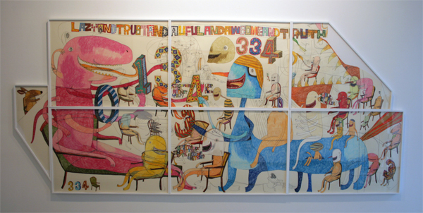 Shintaro Miyake - Life is Awesome of Aweful - 158x358cm Acrylverf, kleurpotlood collage en potlood op papier
