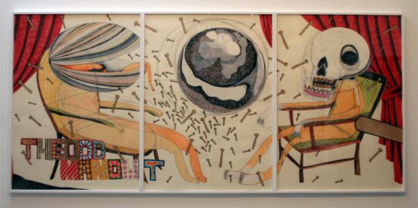 Shintaro Miyake - Silver Moon - 109x237cm Acrylverf, kleurpotlood collage en potlood op papier