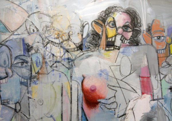 Spatial Figures - Acrylverf, pastel en houtskool op linnen (detail)