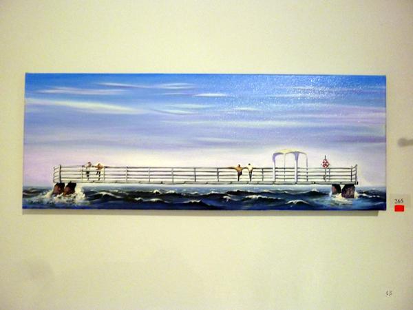 Zamuel Hube - Two men on a pier - Olieverf