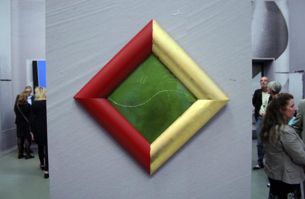 JCJ VANDERHEYDEN - Groene Curve - Olieverf op karton in lijst bedekt met bladgoud