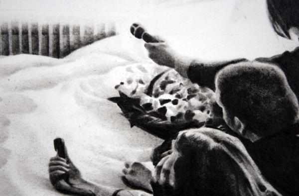 Andreas Albrectsen - Room 902 - 50x70cm Graftiet op papier (detail)