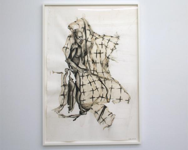 Matthew Monahan - Cold Shower - 139x94cm Houtskool op rijstpapier op ander papier