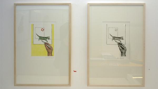 Roger Raveel - Een kat tekenen - 24x17cm (Kleuren)ets op papier