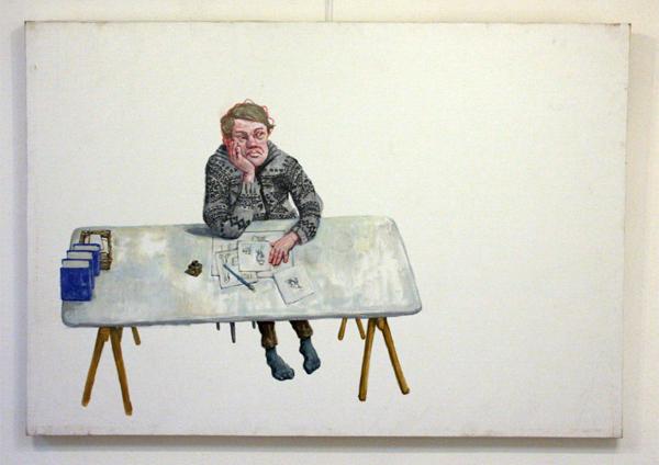 Elmer de Gruijl - Zelfportret op Schetsblok - 126x88cm Acrylverf op canvas