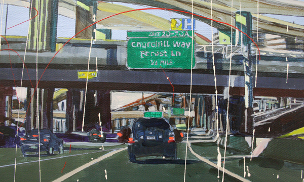 Yujin Kang - From Heathrom Terminal 5 to Dallas - 90x130cm Enamel en acrylverf op canvas (detail)