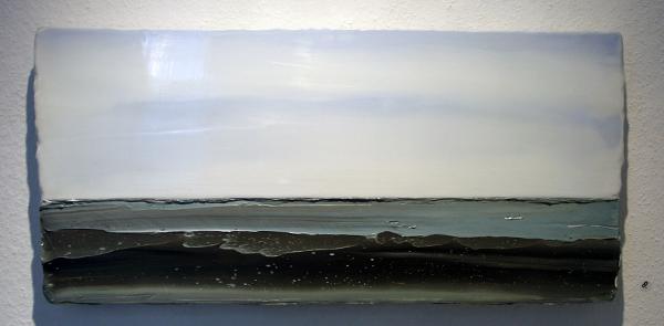 Anke Roder - Zeewind 2011 - 25x57cm Encaustiek en olieverf op hout