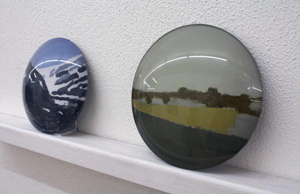 Viktor Baltus - Berg & Akker - Schildering achter glas 10cm & 12cm