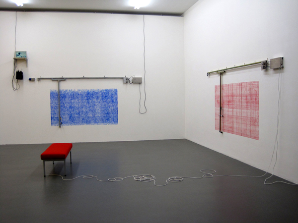 Angela Bulloch - Blue Amplitude and Wallace Constructostrato Drawing Machine Red
