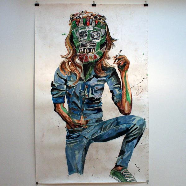 Charlotte Schleiffert - Vrouw met groen masker - 234x148 Mixed media op papier