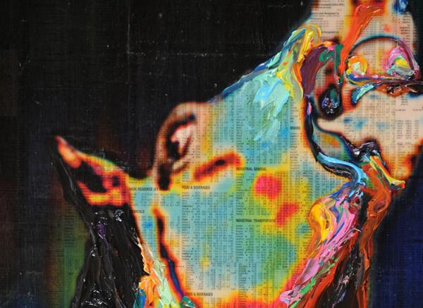 Gordon Cheung - Fallen - 153x218cm Inkt, arcylgel en spuitbus op beurspagina op zeil (detail)