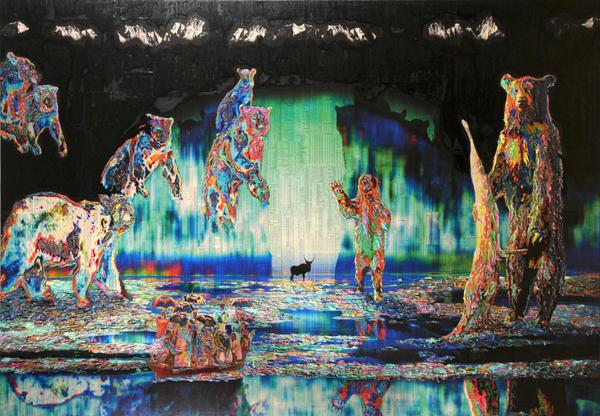 Gordon Cheung - The Journey - 170x200cm Inkt, arcylgel en spuitbus op beurspagina op canvas