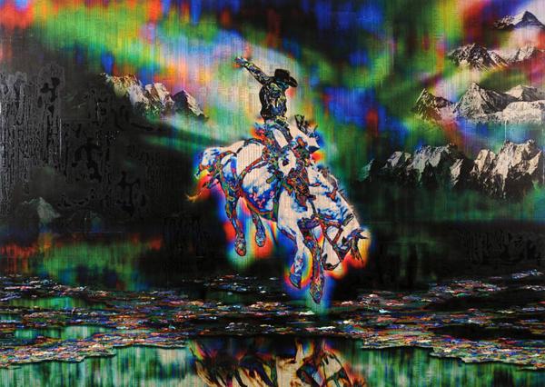 Gordon Cheung - The Pale Horse - 163x229cm Inkt, arcylgel en spuitbus op beurspagina op zeil