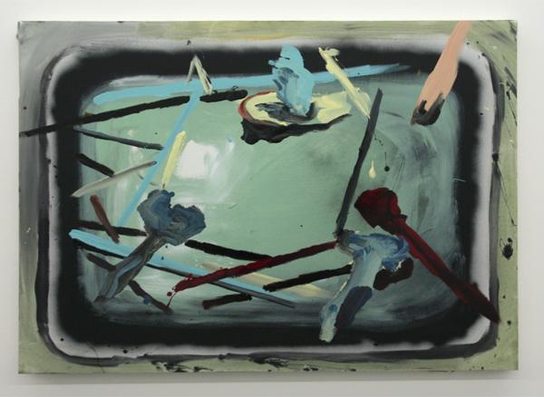 Jop Vissers - Verfbak - 82x116cm Acrylverf, olieverf, lak en spuitbus op canvas