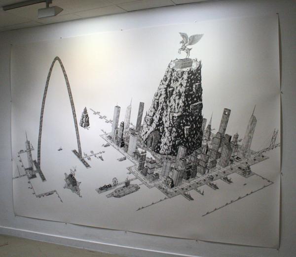 Rik Smits - Monument Rock Island - 240x350cm Potlood op papier