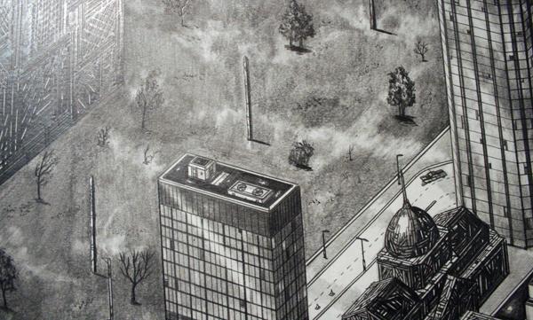 Rik Smits - Square Park Island - 240x350cm Potlood op papier (detail)