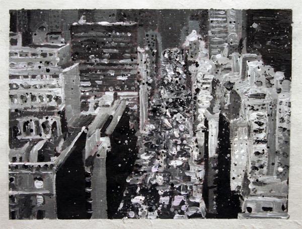 Tjebbe Beekman - Ode aan Frank Lloyd Wright - 21x30cm Acrylverf op rijstpapier