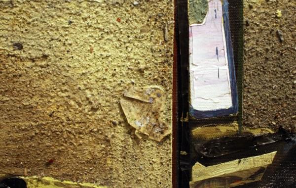 Tjebbe Beekman - Office II - 84x74cm Acrylverf, enamel en zand op canvas op paneel (detail)