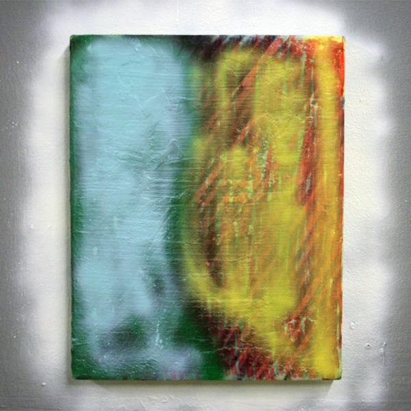Oliver Rafferty - YellowBlue - Spuitbus, olieverf en marker op paneel