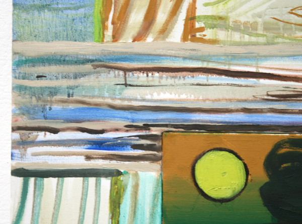 Fritz Bornstuck - Between the bars - Vierluik, 90x80cm Olieverf op doek (detail)