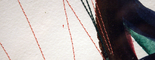 Huub van der Loo - Zonder Titel (Bouncing)- 51x65cm Aquarel en naaigaren op papier (detail)