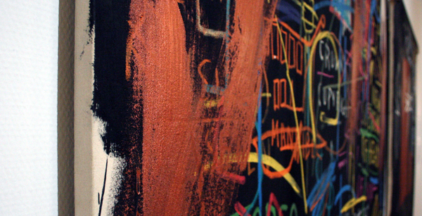 Jean-Michel Basquiat - Kings of Egypt II - Olieverf op doek (detail)