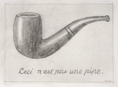 Mike Bidlo - Not Magritte (Ceci Ce Nest Pas Une Pipe) - Potlood op papier