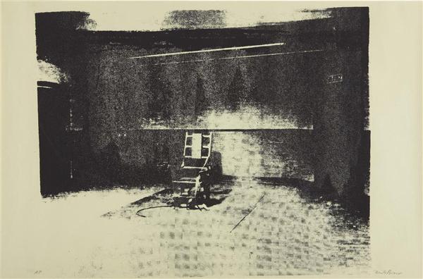Mike Bidlo - Not Warhol (Electric chair) - 59x89cm Zeefdruk