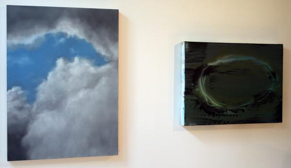 Niek Hendrix - Nimbus - 67x50cm Olieverf op doek op paneel & Jop Vissers Vorstenosch - Oppenheimer's Bad Karma - 40x55cm Olieverf, acrylverf, spuitbus en lak op canvas