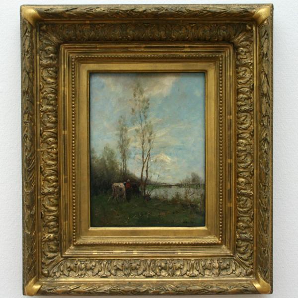 Willem Maris - Boerin met vee bij een riviertje - Olieverf op doek