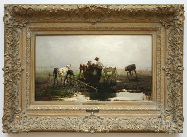 Willem Maris - Jonge kalven aan een melkbak (Kalveren aan een poel) - Olieverf op doek