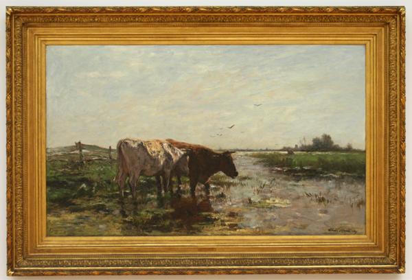 Willem Maris - Koeien aan een plas - Olieverf op doek
