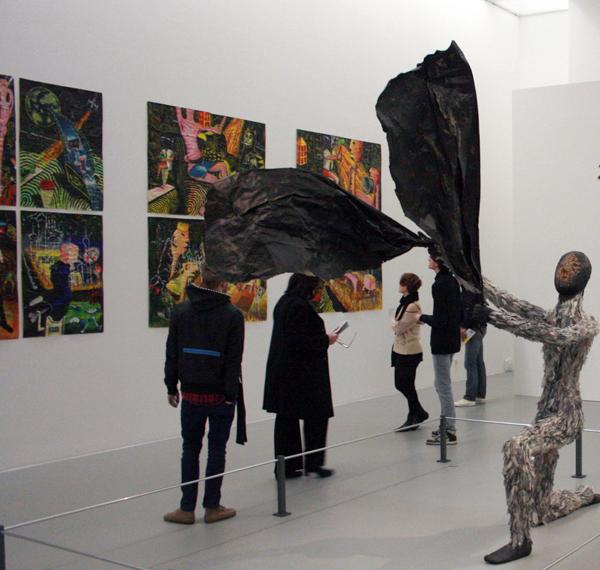 Henk Visch - Zwarte Man - Hout, veren en papier