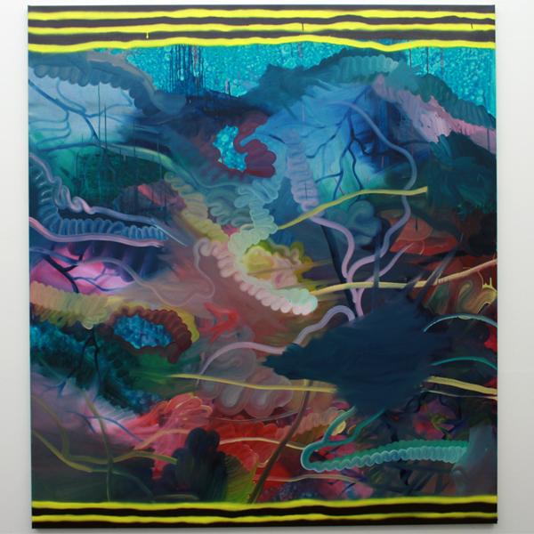 Hidde van Schie - Het een kan blijkbaar niet zonder het ander - 190x170cm Olieverf, acrylverf en spuitbus op canvas