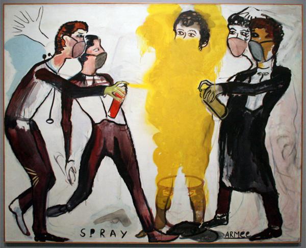 Rene Damiels - Spray Armee - Olieverf op doek