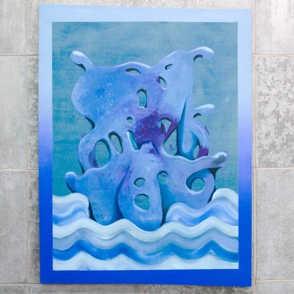 Denie Put - Zwaldpend Blauw - 120x140cm Acrylverf op doek