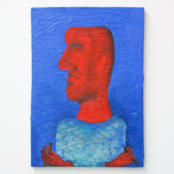Tom Poelmans - Zelfportret met gebroken penseel - 30x40cm Olieverf op paneel