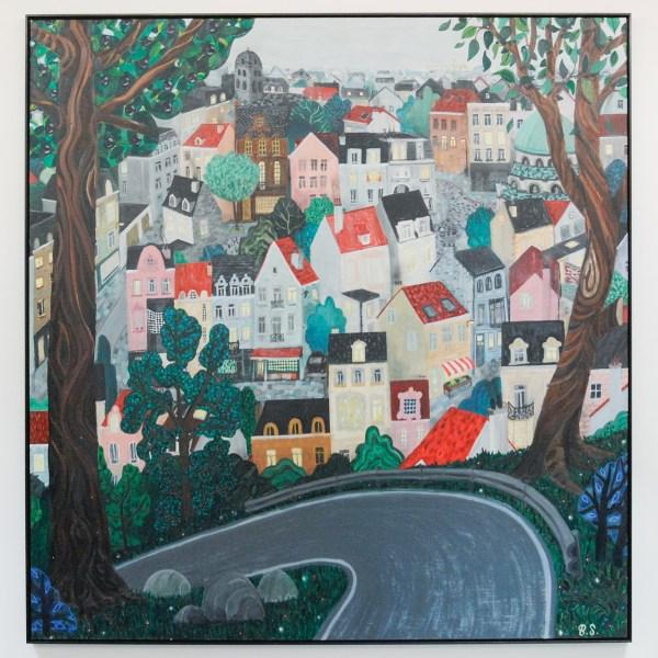 Ben Sledsens - Downtown - 220x190cm Olieverf, acrylverf en potlood op canvas